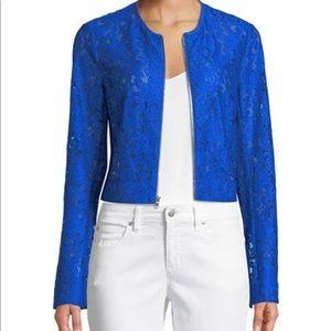 Diane Von Furstenberg blue lace jacket Sz 6 NWT